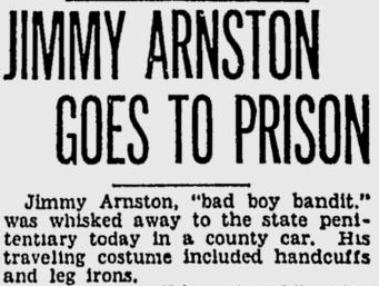 Newspaper headline about Arnston's move to the penitentiary.