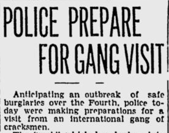 Newspaper headline about arrival of Arnston's gang.