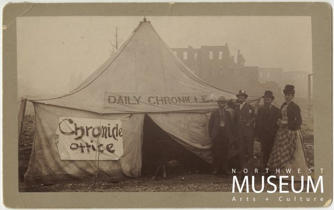 Spokane Daily Chronicle Tent After Great Fire